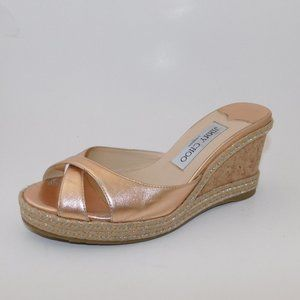 JIMMY CHOO 'Almer' Wedge Sandals Rose Gold 36.5